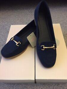 BNIB NAVY FABULOUS FABS Moccasins Horsebit Loafers Comfort Shoes UK 8 41 rrp £35