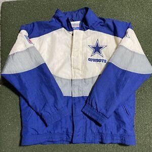 Vintage Pro Line Dallas Cowboys Jacket Mens Large Apex One Blue White Coat NFL