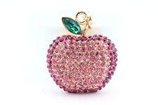 Pink Apple Fruit Keychain Crystal Charm Animal Purse Gift Cute Accessory F3A