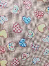 Heart on Dots Small 100% COTTON Poplin Fabric  Children Red Blue