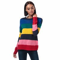 Womens Brave Soul Multi Stripe Crew Neck Jumper in rainbow.