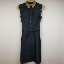 EUC! Gucci Denim Dress Detachable Python Collar. Women's Size 38 Italy/2 US.