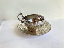 Ancienne tasse soucoupe argent massif sterling silver poinçon minerve rinceaux