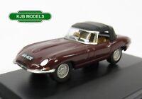 BNIB OO GAUGE OXFORD 1:76 76ETYP012 Jaguar E Type Soft Top Imperial Maroon Car