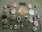 #D344. LOT OF 28 CLUB OLD BADGES, PINS & BUTTONS
