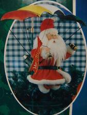 CHRISTMAS PARACHUTE SANTA ANIMATED W/STAND OLDER NICE
