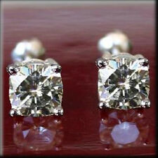 One Ghi Solitaire Basket Earrings 2.60 Ct Moissanite Cushion Forever