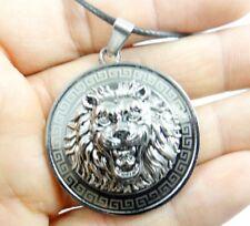 Womens Mens Vintage Retro Jewelry Silver Alloy Chain lion head Pendant Necklace