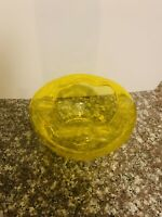 vintage Blenko Wayne Husted Modern Yellow  Hand Blown C/B  Glass Ashtray