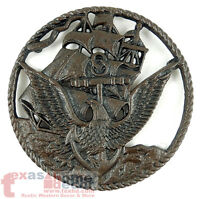 United States Navy Cast Iron Metal Plaque Trivet Eagle Military Decor 7.5 inches
