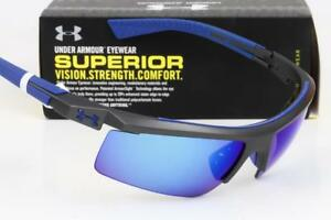 NEW UNDER ARMOUR CORE 2.0 SUNGLASSES UA Satin Carbon / Blue Multiflection lens