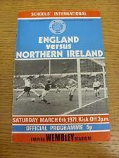 06/03/1971 England Schools v Northern Ireland Schools [At Wembley] (creased). Bo