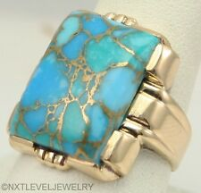 HEAVY 8+ GRAM Antique 1920's Art Deco Mosaic Turquoise 10k Solid Gold Men's Ring