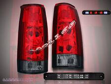1988-98 SILVERADO GMC SIERRA C/K TRUCK RED TAIL LIGHTS + 3RD BRAKE LIGHT LED