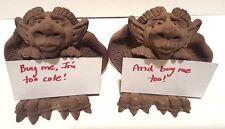 2 Dragon Gargoyle Figurine Business Card Holders, Fantasy Signed T. Scott Smith