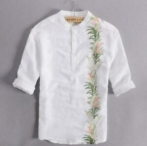 Mens Youth Fashion 100% Linen 3/4 Sleeves Manderin Floral Printed Shirt Top FAOV