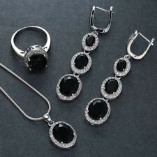 Charm Wedding 925 Silver Black Sapphire Ring Earring Necklace Set Jewelry Sz6-10