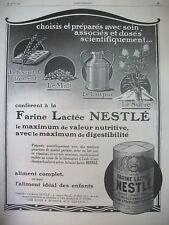 PUBLICITE DE PRESSE NESTLE FROMENT MALT LAIT SUCRE ALIMENT COMPLET AD 1926