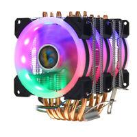 Gaming PC Computer CPU Cooler 3 Fan 4Pin RGB For Intel 775 115X 1366 AMD AM3 FM3
