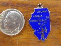 Vintage sterling silver ILLINOIS PRAIRIE STATE CHICAGO ENAMEL charm RARE WELLS