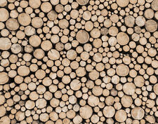 Essener Tapete Global Fusion G45275 Wood Wooden Stack Mural Wallpaper Panel