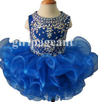 blue Infant//toddler//baby//children cupcake beading Pageant Dress 037-11