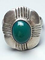 Art Deco Silber Ring 925 Silber punziert grüner Achat RG 60/19 mm /A167