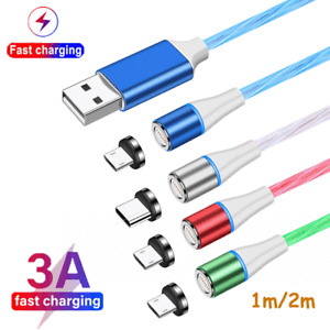 LED Glow 3A Fast Magnetic Adapter Cable Type C Micro USB Date Charger Quick Line
