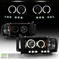 Black Smoke 2002-2005 Dodge Ram 1500 2500 3500 LED Halo Projector Headlights Set