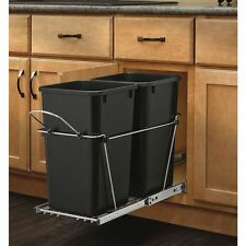 Pull Out Garbage Can Plastic Waste Container Home Kitchen  27-Quart Trash Drawer