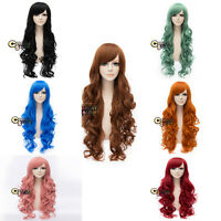 80cm 31 Inches 10 Colors Long Curly Women Lady Anime Cosplay Hair Wig + Cap