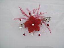 Attache/Remonte Traine Broche Ivoire/Rouge Bordeaux Fleur robe Mariée Mariage