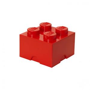 LEGO Aufbewahrungsstein, 4 Noppen, Stapelbare Aufbewahrungsbox, 5,7 l, rot