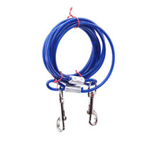 Dog Cable Steel Wire Pull Rope Collar With Metal Strap Lead Hooks Pet Supply WE