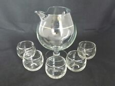 Vintage Mid Century Mod Glass Brandy Snifter Pitcher with 5 Roly Poly Glasses