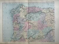 1891 Northwest Spain & Portugal Hand Coloured Original Antique Map by G.W. Bacon