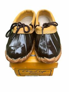 CHRIS CRAFT Duck Gardening Shoes Footwear Brown Leather Rain Clogs Sz 8 NOS BOX