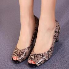 Women Snake Pattern Kitten Heels Peep Toe Pumps Shoes Slip On Prom Nightclub Sz