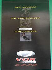 VOR MOTORCYCLES MOTO EN 400 450 530 SM MX 450 530 CATALOGO BROCHRE CATALOG
