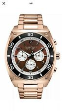 Caravelle New York Clark Chronograph Brown Dial Rose Gold Watch 45A110 Was £129