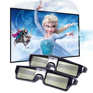 2x Active Shutter 3D-Brille für DLP-Link-Projektor Wiederaufladbares Heimkino DE