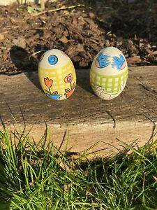 Easter Egg Tree Or Table Decoration Set Of 2 Hand Painted Ceramic Eggs