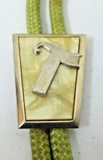 Vintage Western Bolo Tie Initial T Gold Tone MOP Mother of Pearl Nylon Cord