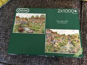 Falcon De Luxe Village Life 2 x 1000 Pieces VGC