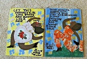 Two (2) Missionary Mary Proctor Folk Art Paintings Lot Hershey Girl Rose Coke