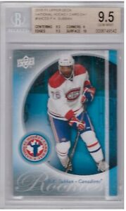 PK SUBBAN  UD NHCD ROOKIE CARD GRADED BECKETT-9.5