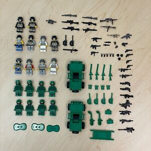 REAL Lego military soldiers Lot 18 - Customized - Weapons - Vehicles - Supplies