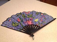Ladies Folding Hand Fan Cloth & Wood Gorgeous Blue Floral Design Black Blades