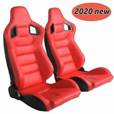 Set of 2 Universal Red Leather Racing Seats Pair Red Stitching & Double Slider