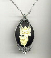 BEAUTIFUL Antique Silver GUARDIAN ANGEL Ivory Wings Black CAMEO Pendant Necklace